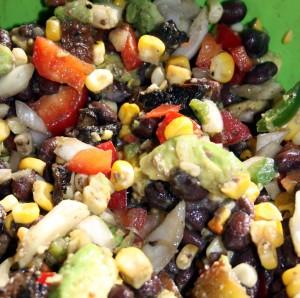grilled vegges and mushroom salad